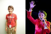 Drake Milligan, a 12-year-old Elvis tribute artist from Fort Worth, Texas, in and out of his Elvis garb.