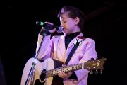 Trenten Oliphant, a 9-year-old Elvis Tribute artist from Loranger, La., belts out an Elvis tune on day one of the Lake George Elvis Festival.
